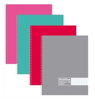 NEUTRE Cahier reliure spirale 180 pages 70g Seyès 21 x 29,7 cm Couverture carte assortis