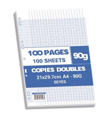 NEUTRE Sachet 100 pages copies doubles 90g Seyès 21x29,7cm (A4). Perforation pour classeur A4