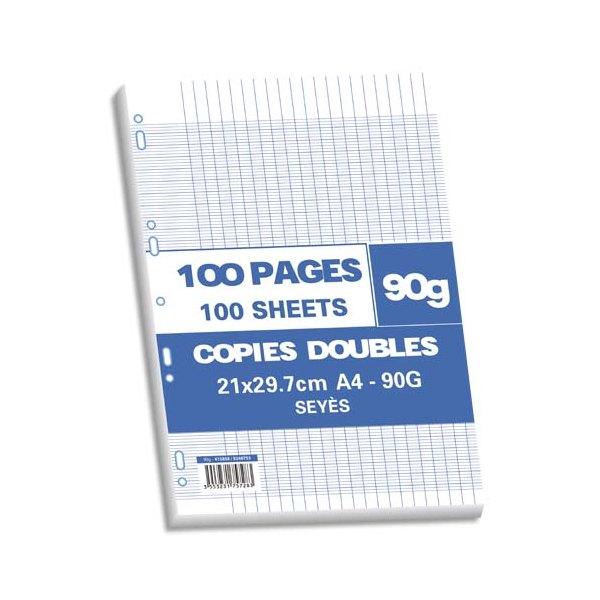 NEUTRE Sachet 100 pages copies doubles 90g Seyès 21 x 29,7 cm (A4). Perforation pour classeur A4