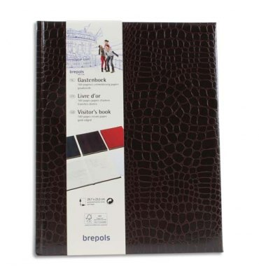 BREPOLS Livre d'or 23,5 x 29,7 cm BELLEGANZA 160 pages unies ivoires. Couverture grain crocodile brun