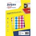 AVERY Sachet de 672 pastilles Ø 15 mm. Imprimables. Coloris assortis