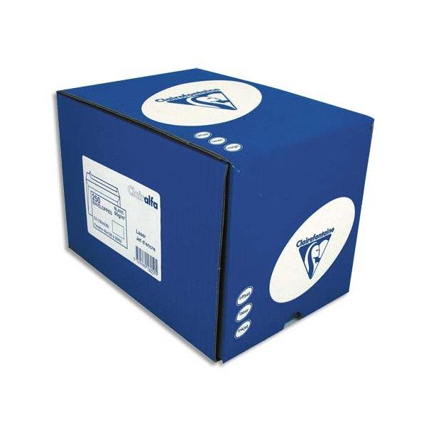 CLAIREFONTAINE Boîte de 250 enveloppes auto-adhésives 90g C5 162 x 229 mm fenêtre 45 x 100 mm
