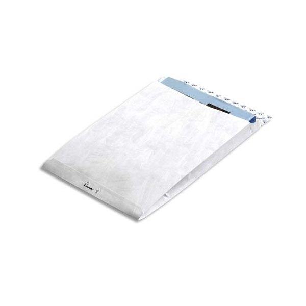 TYVEK Boîte de 100 pochettes blanches Expander Gusset polyéthylène haute densité 305 x 406 mm soufflet de 5 cm
