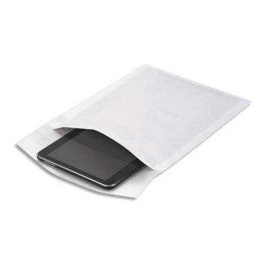 EMBALLAGE Boîte de 100 pochettes matelassées en kraft blanches bulles air format 220 x 260 mm
