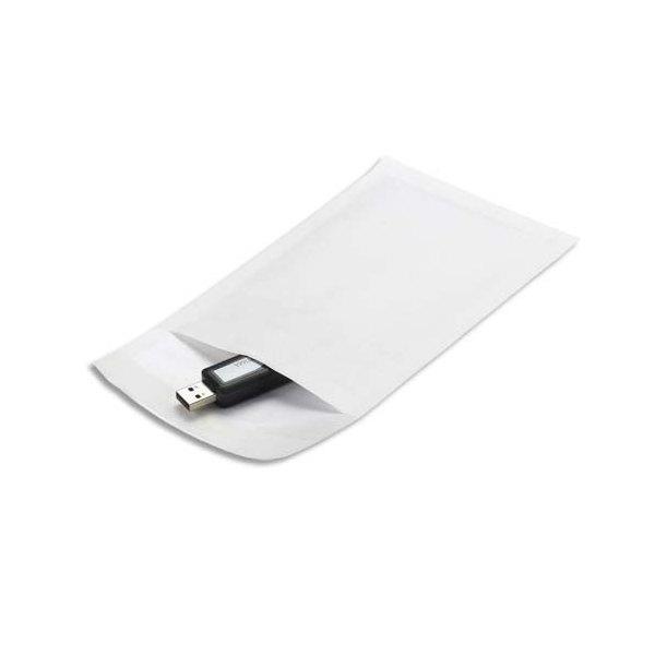 EMBALLAGE Boîte de 200 pochettes matelassées en kraft blanches bulles air - 120 x 210 mm
