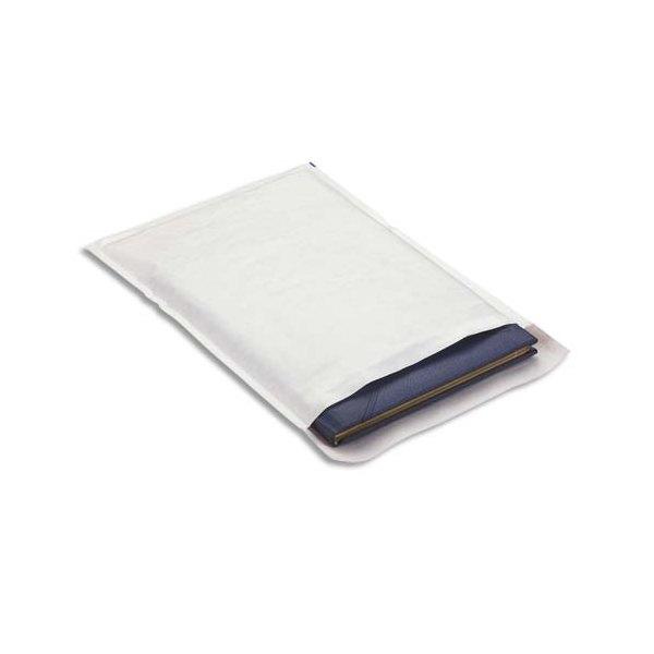 EMBALLAGE Boîte de 100 pochettes matelassées en kraft blanches bulles air - 270 x 360 mm