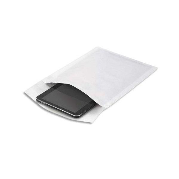 EMBALLAGE Boîte de 100 pochettes matelassées en kraft blanches bulles air - 180 x 260 mm