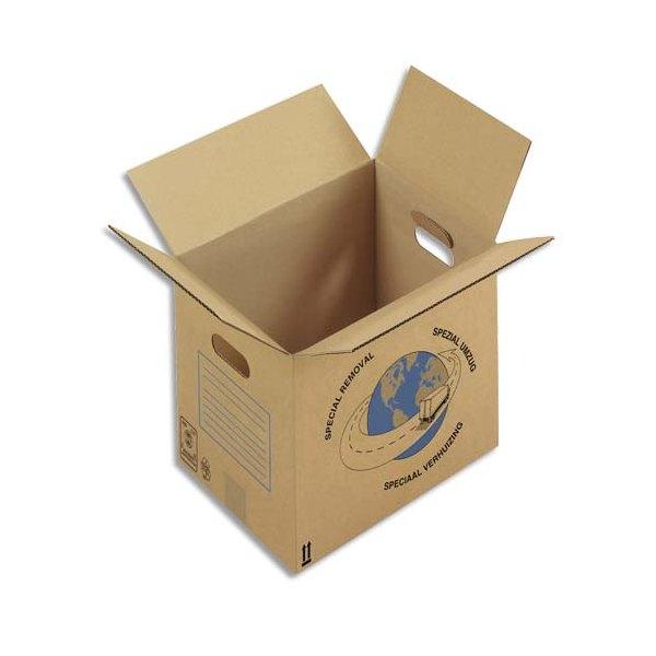 EMBALLAGE Paquet de 20 caisses déménagement simple cannelure en kraft écru - Dimensions : 55 x 35 x 30 cm
