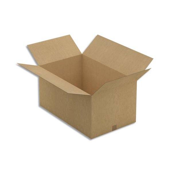 EMBALLAGE Paquet de 20 caisses américaine simple cannelure en kraft écru - Dimensions : 80 x 40 x 50 cm