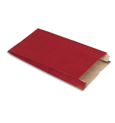 EMBALLAGE Paquet de 250 sachets kraft rouge - Format : 16 x 25 x 8 cm