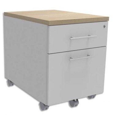 SIMMOB Caisson mobile 2 tiroirs blanc dessus Chêne clair + plumier, façade blanche INEO - L42 x H56 x P50cm