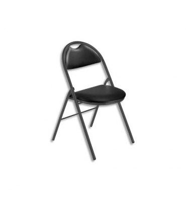 NOWY STYL Chaise pliante Arioso en simili cuir noir, 4 pieds tube époxy noir avec patins de protection