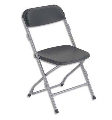 Chaise Polyfold pliante en plastique noire, 4 pieds en acier époxy aluminium - Hauteur totale 80 cm