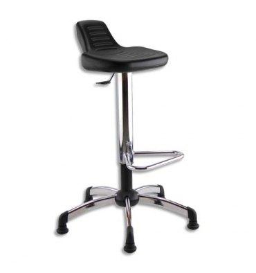 Siège Assis Debout noir polyuréthane assise pivotante et inclinable, piètement chromé avec repose-pieds