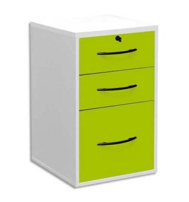MT INTERNATIONAL Classeur mélaminé 2 tiroirs + 1 à dossiers suspendus corps blanc tiroir vert pomme - L42 x H69 x P44 cm