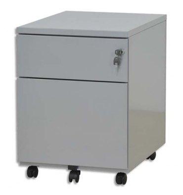 VINCO Caisson mobile 2 tiroirs dont 1 pour dossiers suspendus L41,7 x H56,5 x P54,1 cm gris perle
