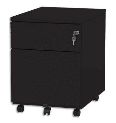 VINCO Caisson mobile 2 tiroirs dont 1 pour dossiers suspendus - L41,7 x H56,5 x P54,1 cm noir