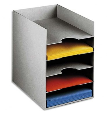 PAPERFLOW Bloc classeur à 5 cases fixes pour doc A4 - 25,8 x 31,8 x 32,5 cm gris
