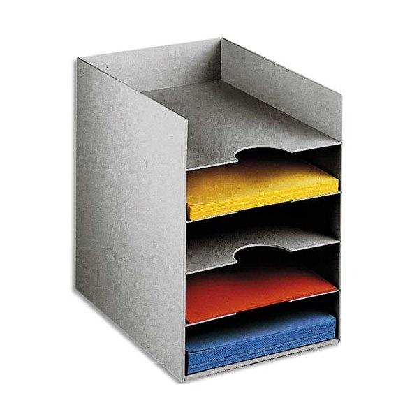 PAPERFLOW Bloc classeur à 5 cases fixes pour doc A4 - 25,8 x 31,8 x 32,5 cm gris