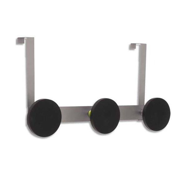 ALBA Triple patères D9 cm  avec crochets de porte maxi 20 kg métal gris (photo)