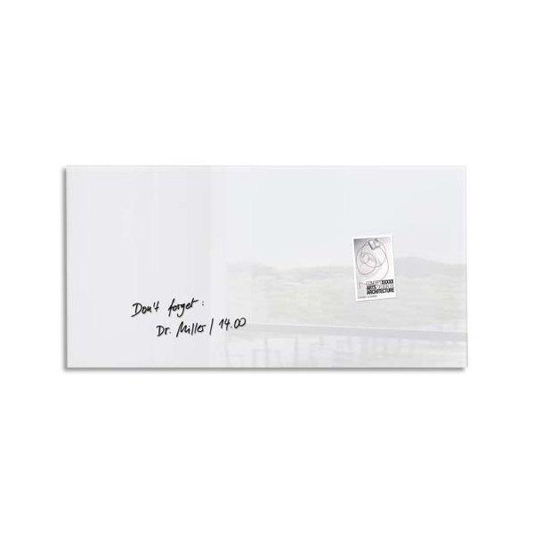 SIGEL Tableau magnétique verre trempé sécurité blanc, 2 aimants et fixation fournie, 91 x 46 cm