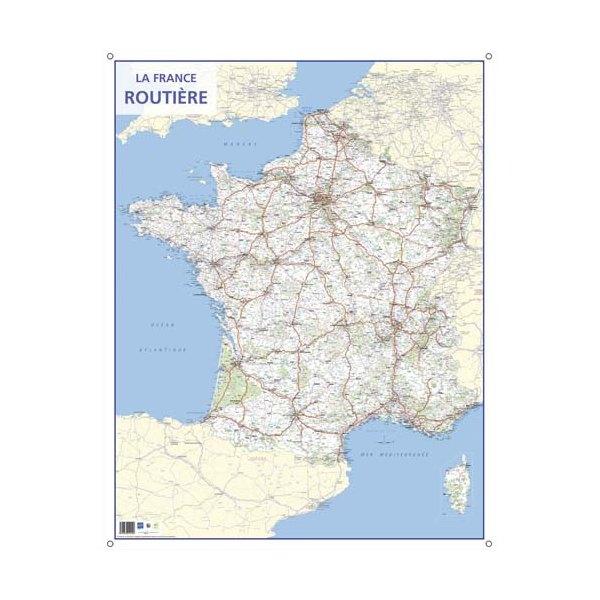 CBG Carte murale route de France - Pelliculée format 66 x 84,5 cm - 4 œillets pour suspension