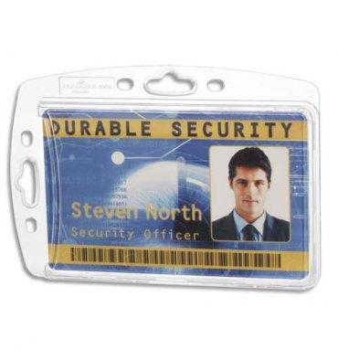 DURABLE Boîte de 10 Porte-cartes fermés pour 1 carte, double perforation sans attache - 8,5 x 5,4 cm