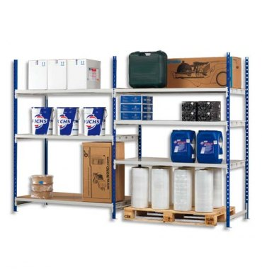 PAPERFLOW Rayonnage Rang'Eco+ élément suivant en métal - 100 x 200 x 60 cm coloris bleu