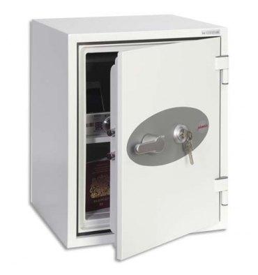 PHOENIX Coffre-fort ignifugé 1 heure acier serrure à clé Titan 36 litres - 40,4 x 52,2 x 44 cm blanc FS1273K