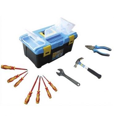 SAFETOOL Malette outils plastique, 10 outils inclus : pince coupante, marteau, clé à molette, 7 tournevis
