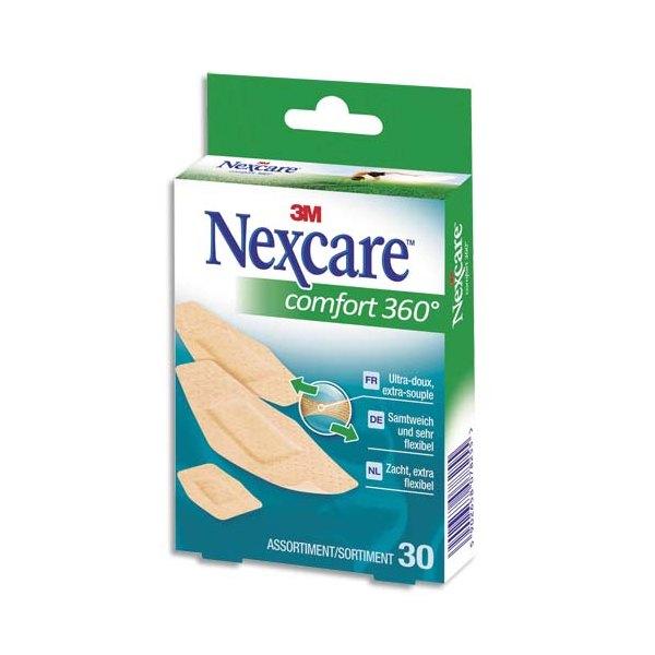 NEXCARE Boîte de 30 Pansements Comfort 360 assortis micro-aéré