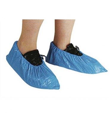 HYGIENE Lot de 100 Surchaussures en polyéthylène imperméables avec ourlet cheville taille unique bleues