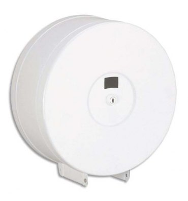 ROSSIGNOL Distributeur de papier hygiénique 400 m en métal blanc époxy - Diamètre 29 , profondeur 11,8 cm