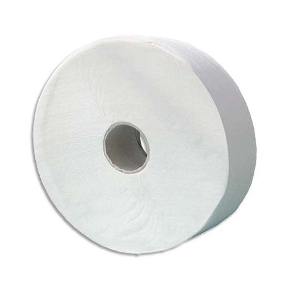 HYGIENE Lot de 6 Bobines de papier toilette 1 pli blanc Longueur 650 mètres x diamètre 26 cm, mandrin diamètre 6 cm