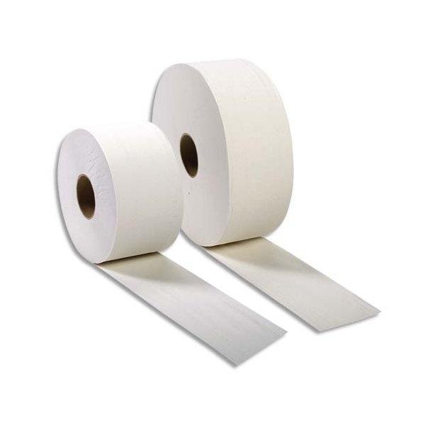 HYGIENE Lot de 6 Bobines de papier toilette 2 plis blanc Longueur 320 mètres x diamètre 26 cm, mandrin diamètre 6 cm
