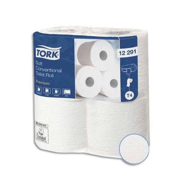 TORK Colis de 12 paquets de 4 rouleaux de Papier toilette Premium 2 plis 198 feuilles pure ouate blanc