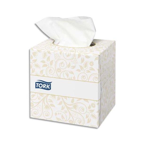 TORK Boîte Cube de 100 Mouchoirs 2 plis ouate extra doux blanche 21 x 20 cm