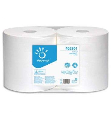 PAPERNET Paquet de 2 Bobines d'essuyage industrielle 2 plis pure cellulose, 1000 formats L305m blanc