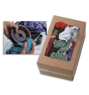 HYGIENE Boîte distributrice 10 Kg environ 100 Chiffons 100% coton fin polyvalents, non pelucheux assortis