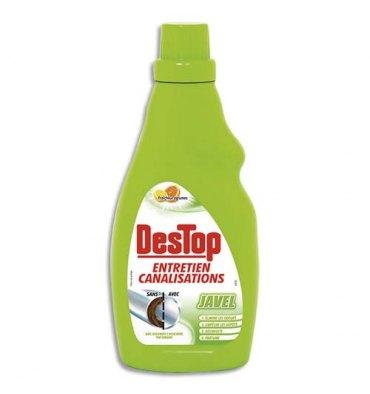 DESTOP Flacon 750 ml Javel entretien des canalisations désodorise, désinfecte parfum citron pamplemousse
