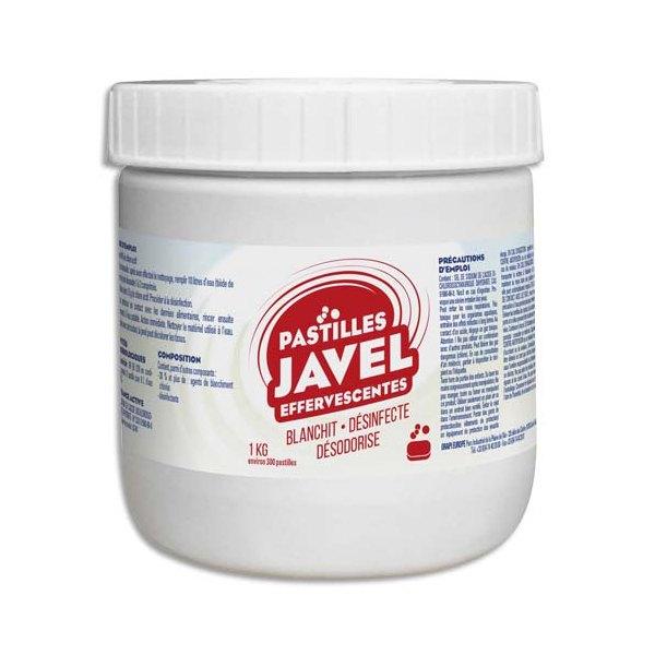 HYGIENE Boîte de 300 Pastilles Javel standards économiques maxi format 1 Kg Désinfection sols et surfaces