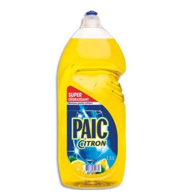 PAIC Flacon d'1,5 litres de liquide vaisselle parfumé au citron Excel+, dégraissant concentré