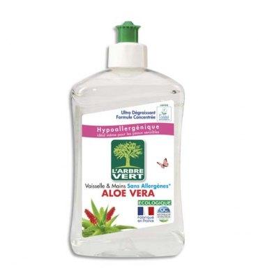 L'ARBRE VERT Flacon de 500 ml Liquide vaisselle mains parfum Aloe Vera Ecolabel