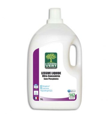 L'ARBRE VERT Lessive liquide ultra-concentrée origine végétale Ecolabel, bidon de 5 litres