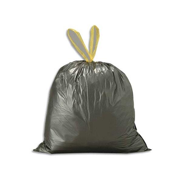 SACS POUBELLES Boîte de 500 sacs-poubelles noirs 30 litres avec liens coulissants 25 microns