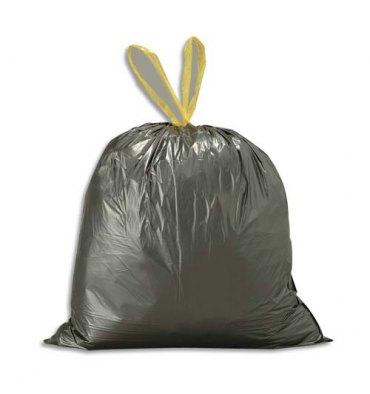 SACS POUBELLES Boîte de 500 sacs-poubelles noirs 50 litres avec liens coulissants 28 microns