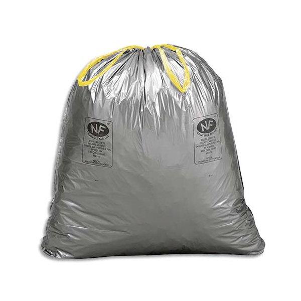 SAC POUBELLES Boîte de 100 Sacs-poubelle à liens coulissants standards 100 litres 34 microns