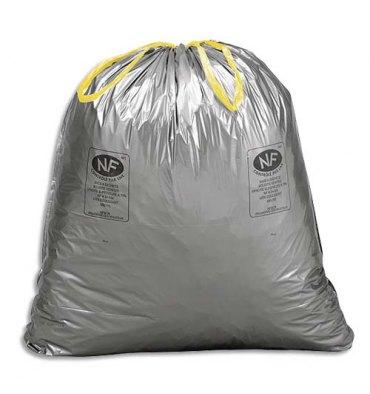 SAC POUBELLES Boîte de 100 Sacs-poubelle à liens coulissants standards 50 litres 28 microns