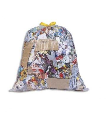 SAC POUBELLES Boîte de 100 Sacs-poubelle à liens coulissants transparents 30 litres 21 microns
