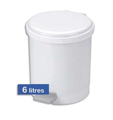 HYGIENE Poubelle à pédale Eco pour sanitaire en plastique 6 Litres - Diamètre 23 cm, hauteur 26 cm